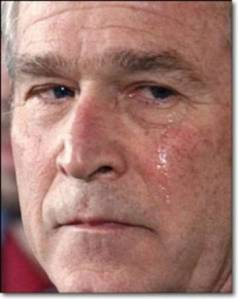 When George W. fucked up this country real bad, he let himself have a good cry.  I bet he feels a whole better about the situation now.